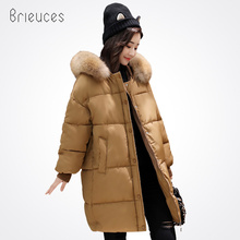 Brieuces solid long parkas hooded faux large fur winter jacket women zipper oversize casual new winter coat women black(China)