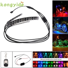 Car-styling 4PCS RGB LED Car Motorcycle Chopper Frame Glow Lights Flexible Neon Strips Kit FE28 Levert Dropship
