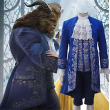 2017 Movie Beauty and the Beast Costume Beast Cosplay Blue Gentleman Outfit Men Halloween Carnival Clothing Custom Made CS373400