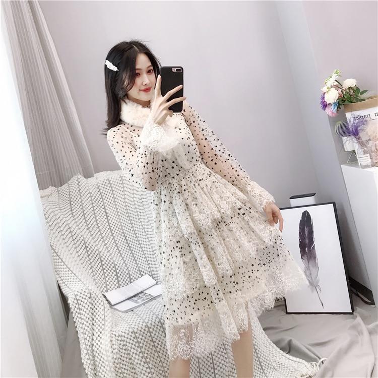 ALPHALMODA 2019 Spring Fur Collar Sweet Bow Stars Print Long-sleeved Multi-layer Women Princess Chiffon Dress + Sling 2pcs Set 7 Online shopping Bangladesh