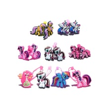 4-6Pairs Little Ponies Baby Girls' Cartoon PVC+Elastic Bands Hairband Kids Headwear Hair Accessories Party Gift Hair Jewelry