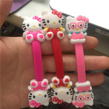 20pcs/lot Cartoon Hello Kitty Headphone Earphone Cable Wire Organizer Cord Holder USB Charger Cable Winder For iphone samsung