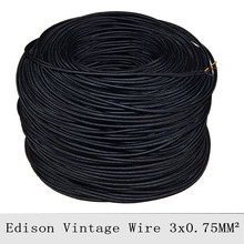 3*0.75mm2 Vintage Lamp Cord Black Braided Electrical Wire Retro Pendant Light Lamp Wire 3 Core Fabric Wire Cable Power Cord 10M