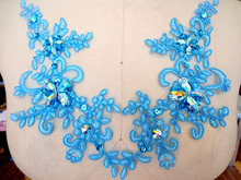 Hand made crystal sequins   sew on  Rhinestones Light Blue  lace applique 23*10cm for dress  DIY accessories