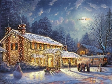 1piece canva art HD new Thomas Kinkade Snow Christmas House Scenery Canvas Print decoration for home Living Room Wall Art\C-482(China)