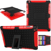 Case for Apple iPad 2 Case for IPad 3/ Ipad 4 Hybrid Heavy Duty Stand Case Rugged Silicon PC Rubber Armor Hard Shell Knock Cover(China)