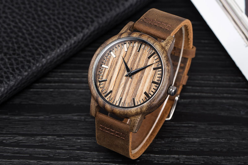 17Men's Clock Black Vintage Saat Wooden Watches With Real Leather Band Design Man Top Brand Quartz Watches Round With Gift Box 12