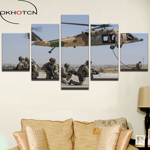 OKHOTCN Canvas Painting Wall Art Frame Modern Helicopter Picture Room Decor 5 Panel Soldiers Warrior Landscape Poster HD Printed(China)