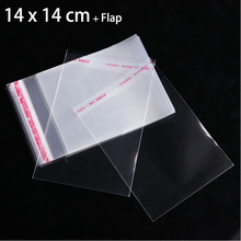 "100pcs 14cm x 14cm Transparent Food Packaging Bags for Cake Cookie Candy 5.51"" x 5.51"" Crystal Clear Self Adhesive Plastic Bag"