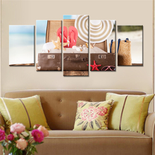 5 Pieces Wall Art Seaview Sea Shells Straw Hat Modern Fashion Pictures Print on Canvas Painting Home Decoration Unframed