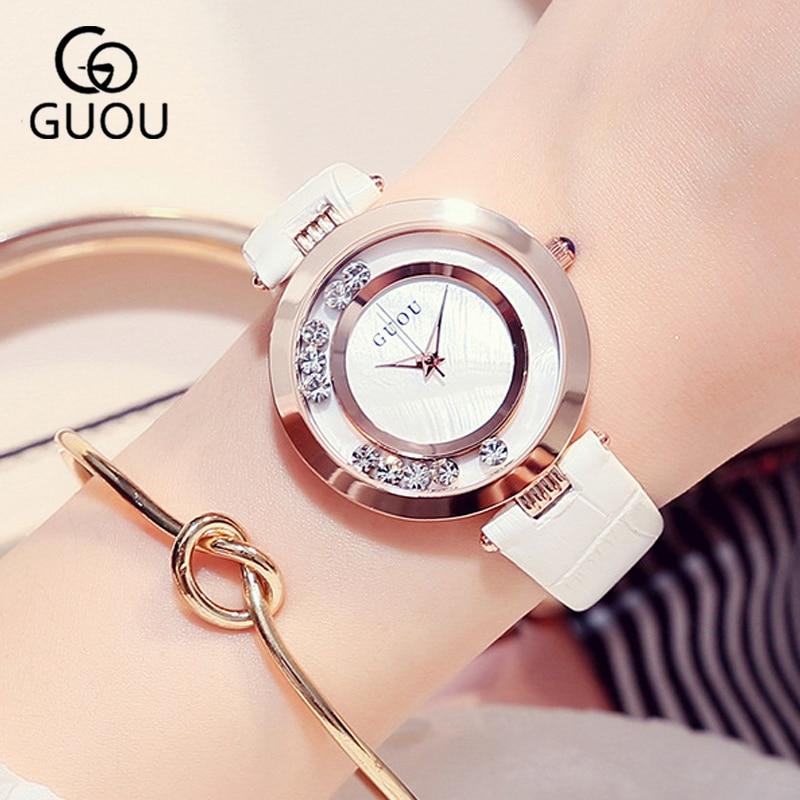 GUOU 2018 White Bracelet Woman Watch Womens Watches Rose Gold Fashion LuxuryLadies Watches For Women Rhinestone Clock Women<br>