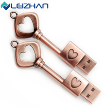 LEIZHAN USB Flash Drive Heart Key 4G 8G 16G 32G USB PenDrive Memory Stick Waterproof Metal Pen Drive key ring External Disk(China)
