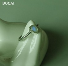 925 sterling silver  inlaid natural Moonstone Ring Blue luster moonlight concise package import