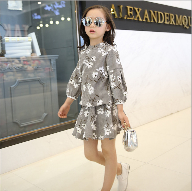 Female childrens wear clothes take 3/4 sleeve jersey + skirt girl who has character of fashion clothes<br><br>Aliexpress