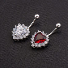 Love Belly Ring Body Piercing Jewelry crystal Navel Belly Piercing Ombligo Nombril Percing Navel Belly Rings(China)