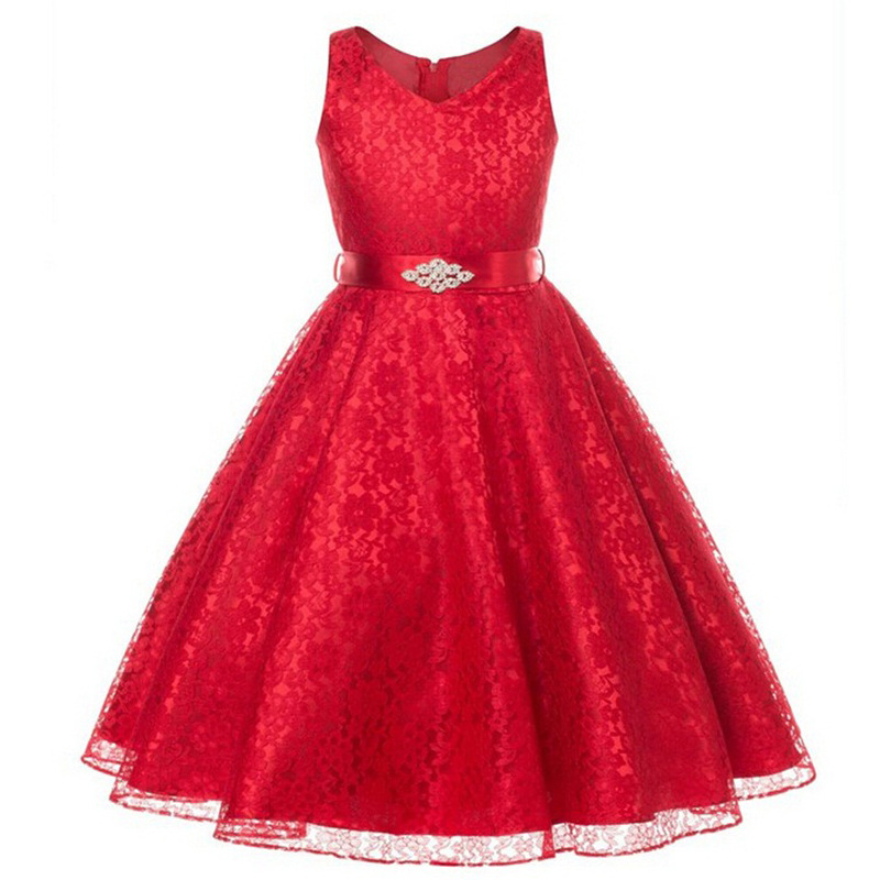 Princess Girl V-neck Sleeveless Sequined Floral Ball Gown Red Party Dresses One Piece Daily Dress for 2 4 6 8 10 12 years 1<br><br>Aliexpress