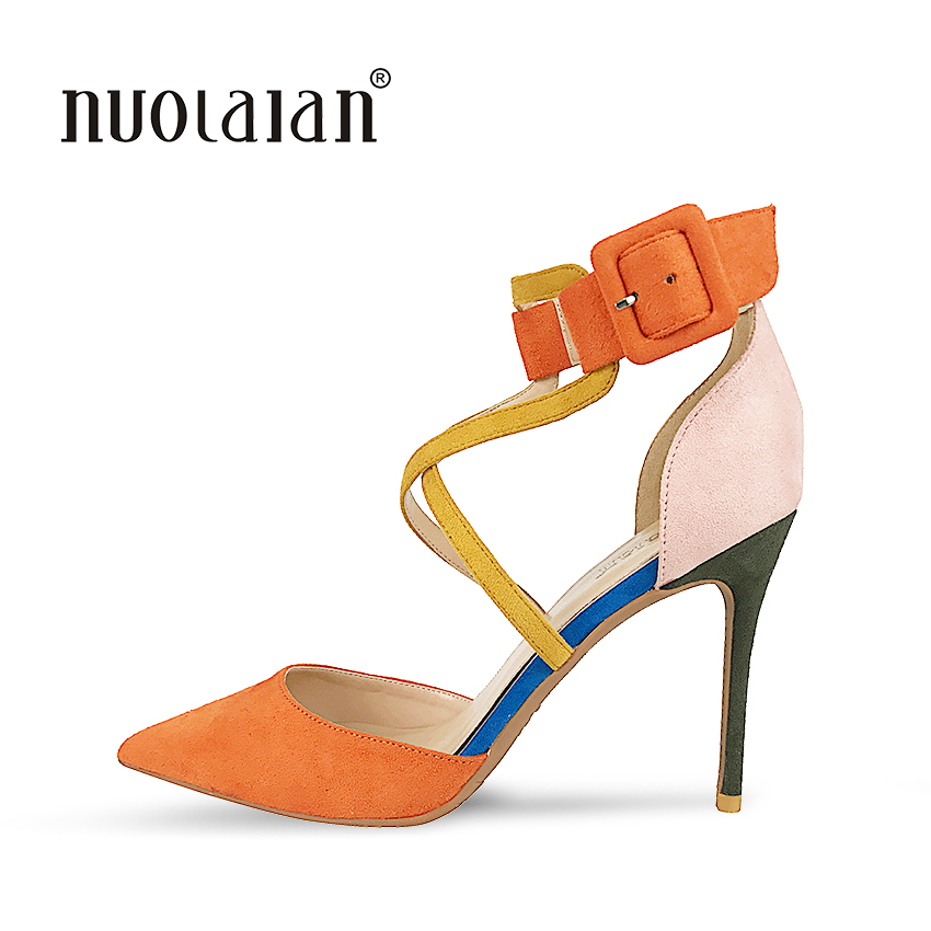Top Quality Women Pumps Ankle Strap Thin High Heels 2018 New Fashion Luxury Women Shoes Wedding Bridal Shoes Woman<br>