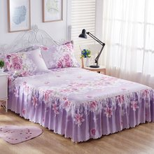 3PCS Bedding Sets King Queen Bed skirt Sheet set Flowers linens Bed Mattress Cover Bedspread Bedding,1 Bed Skirt 2 Pillowcase(China)