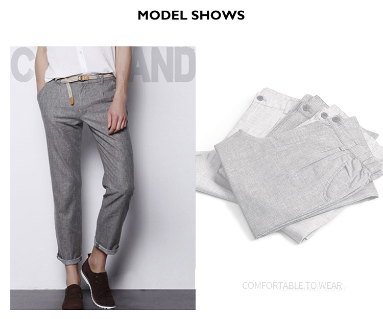 Markless Thin Linen Men Pants Male Commercial Loose Casual Business Trousers Men's Clothing Straight Fluid Man Pants 14