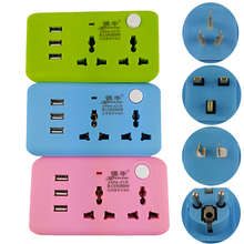 Multifunction Outlet tourism Travel UK US AU Germany socket Splitter 2 jacks 2way outlet extend plug socket USB Charging port(China)