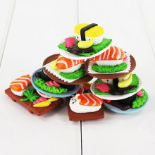 New arrival 8Pcs/Lot Fashionable Lovely Sushi Shape Cake Ornament Present mini Trendy Creative Decoration PVC Figure Toys Gift