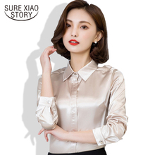 Spring and Fall New Arrival 2016 Hot Sale Female Lace Casual Silk Blouse Slim Women Silk Shirt Plus Size Plus Size 103B 25(China)