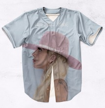 Real American Size lady gaga  3D Sublimation Print Custom made Button up baseball jersey plus size