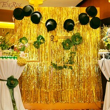 FENGRISE Gold Foil Tinsel Curtain 1X2 Meters Foil Fringe Backdrop Wedding Photography Birthday Party Decoration Supplies(China)