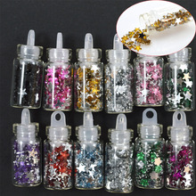 12Bottle/Sets Starry Star Glitter Decorations Tips 3d Nail Art Studs for DIY Nails Toes Phones Beauty Accessory NC320