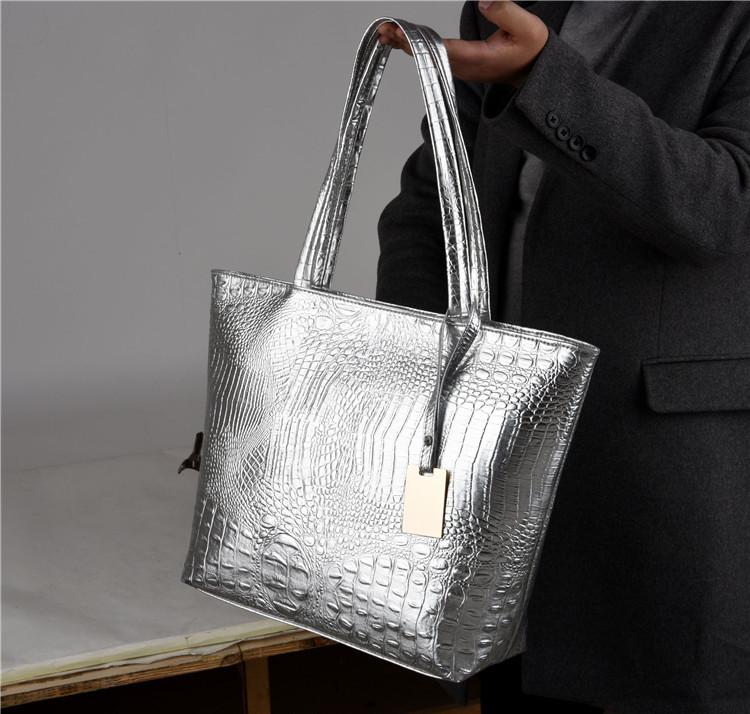 Brand Fashion Casual Women Shoulder Bags Silver Gold Black Crocodile Handbag PU Leather Female Big Tote Bag Ladies Hand Bags Sac 5