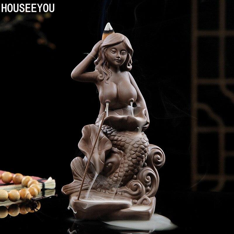 Home decor Backflow incense burner incense holder ceramic Mermaid censer