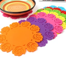 5Pcs/Set Rose Cup Plate Mats Silicone Dining Table Placemats Coaster Drinks Tablemat Kitchen Bar Mug Placemats Coaster Pot Pads