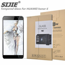 SIJIE Tempered Glass For HUAWEI honor 6 0.26mm Screen Protector front stronger 9H thin discount Retail Package Hard BOX save