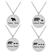 4 Style optional Charm Women Jewelry Bears Necklace Baby Bears and Mama Bear Pendant Necklace Fashion Mother's Day Gift
