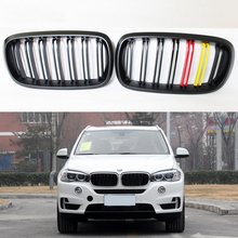 F16 X6 F15 X5 Matt German flag 3 color ABS Auto Front Bumper Mesh Grill Guard for BMW X5 X6 2014-2016 M Style(China)
