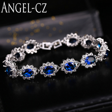 ANGELCZ Summer Fashion Style Sterling Silver Ladies Tennis Bracelets For Elegant Royal Blue Austrian Crystal Women Jewelry AB059