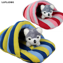 LAPLADOG 65x40cm Warm Winter Dog Cat Bed Flip Flop Dog House Cave Cute Pets Kennel Nest Dog Fleece Cat Bed(China)