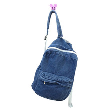 Unisex Vintage Washed Denim denim backpack american apparel double-shoulder denim backpack denim school bag for man and women(China)