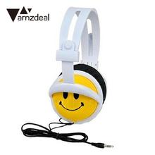 amzdeal Cute 1.2M 3.5mm Wired Headset Handsfree Earphone Cartoon Smile Face Children Kids Foldable Headband Headphones(China)