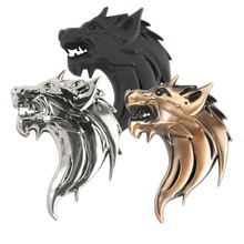 2016 Wolf Head Ho 3D Metal Auto Ho Car Grill Badge Logo Totem Grille Emblem Sticker DIY Gun /Silver /Bronze 3 Colors Car-Styling