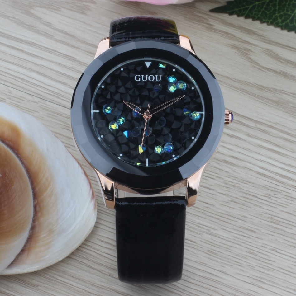 Luxury Brand GUOU Women Quartz Dress Watch Genuine Leather Full Crystal Diamond Bling Glitter Ladies Wristwatch Mujer Relojes<br><br>Aliexpress