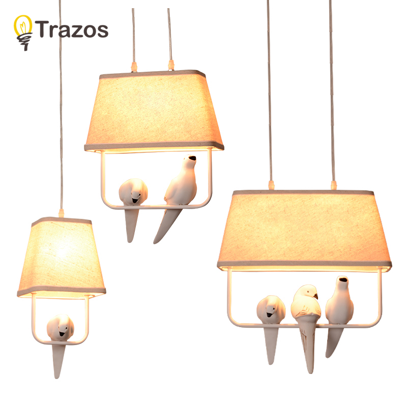 Birds pendant lights vintage lamp resin bird fabric lampshade for kitchen lighting dining room retro loft pendant lamp<br>