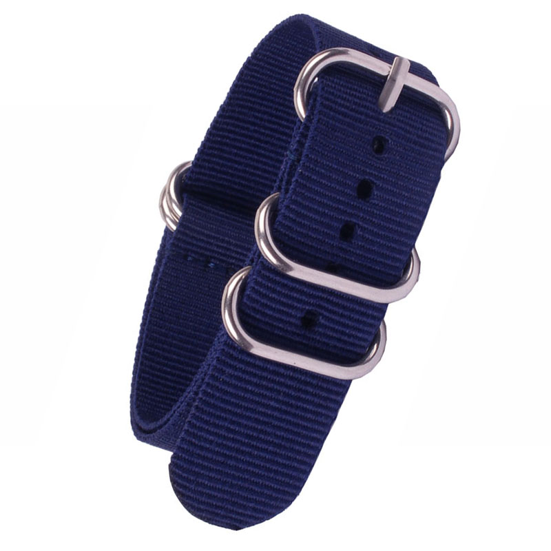 Buy 2 get 25% off) 16mm 18mm 20 mm 22mm 24mm Solid Navy Army Zulu fabric Nylon watchband Watch Strap 5 Rings Bands Buckle Nato<br><br>Aliexpress