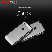 DEVILCASE For iPhone 6 6s 6Plus 6sPlus Laser Engraving Dragon Bumper Carved Design Carp Stylish Metallic Protective Frame 6 6s