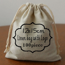 Personalized Logo Cotton Linen bags 12x15cm pack of 100  can print Wedding Company logo or store name