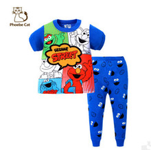 Casual Boys Children Clothing Sets Sesame Street Home Wear Cotton T-Shirt+Pants Pajamas All For Kids Clothes and Accessories