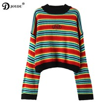JOYDU UNIF Pullover 2017 New Sweet Kawaii Rainbow Stripes Crop Top Winter Sweater Women Loose Preppy Style Knit Oversized Jumper(China)