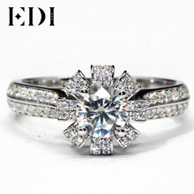 EDI Vintage Moissanite Fairy Tales Ring 9K White Gold 0.8CT Round Cut Lab Grown Diamond Crown Wedding Ring For Women Jewelry