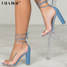 LALA IKAI Fashion New Sandals High Heel Elegant Open Toe Sexy Lace Up Ladies Wedding Dress Shoes Gladiator Sandals 40F1242-35(China)