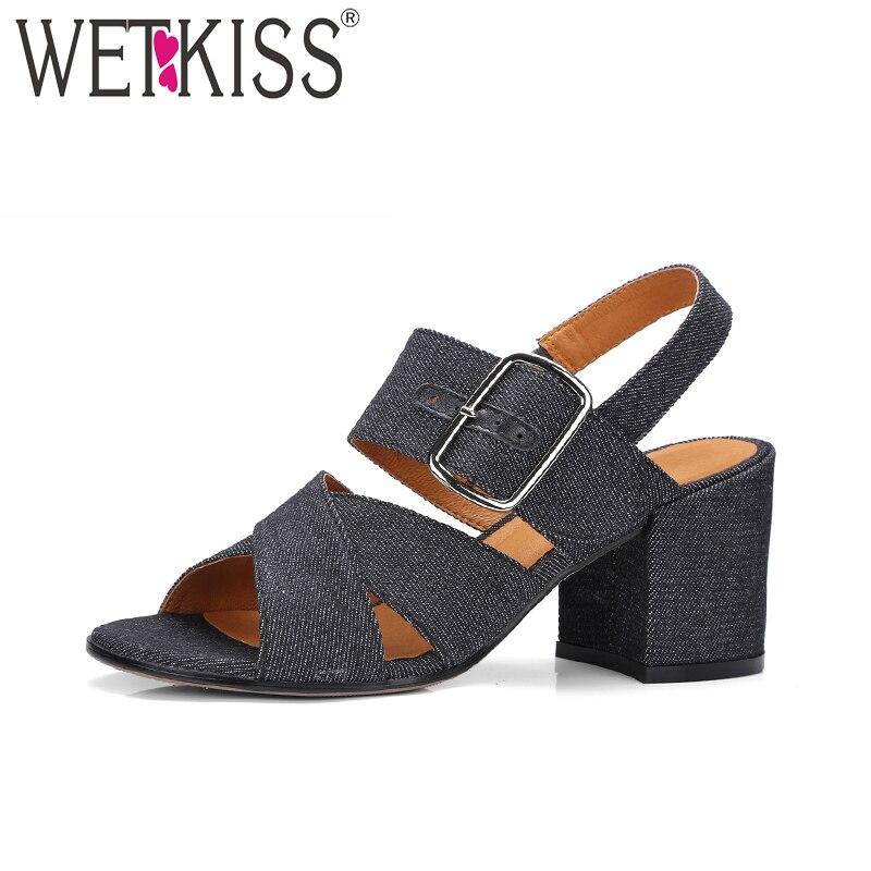 WETKISS Denim Summer Women Sandals 2018 Brand Buckle Back Strap High Heels Ladies Shoes Female Open Toe Square Heels Footwear<br>